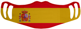 A washable and reusable polyester Spanish Flag printed cloth face mask with two ear holes by each side